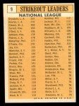 1963 Topps #9  1962 NL Strikeout Leaders  -  Don Drysdale / Sandy Koufax / Dick Farrell / Bob Gibson / Billy O'Dell Back Thumbnail