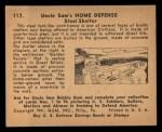 1941 Gum Inc. Uncle Sam Home Defense #117  Steel Shelter  Back Thumbnail
