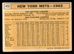 1963 Topps #473  Mets Team  Back Thumbnail