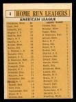 1963 Topps #4  1962 AL Home Run Leaders  -  Harmon Killebrew / Roger Maris / Norm Cash / Rocky Colavito / Jim Gentile / Leon Wagner Back Thumbnail