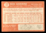 1964 Topps #221   Bob Saverine Back Thumbnail
