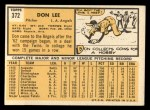 1963 Topps #372 ERR  Don Lee Back Thumbnail