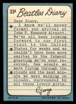1964 Topps Beatles Diary #33 A George Harrison  Back Thumbnail