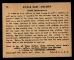 1941 Gum Inc. Uncle Sam Home Defense #11   Field Maneuvers Back Thumbnail