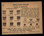 1941 Gum Inc. Uncle Sam Home Defense #15   Salute To Authority Back Thumbnail
