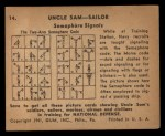 1941 Gum Inc. Uncle Sam Home Defense #14   Semaphore Signals Back Thumbnail