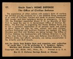 1941 Gum Inc. Uncle Sam Home Defense #97  The Office Of Civilian Defense  Back Thumbnail