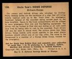 1941 Gum Inc. Uncle Sam Home Defense #108  Drivers Corps  Back Thumbnail
