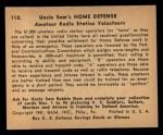 1941 Gum Inc. Uncle Sam Home Defense #110  Amateur Radio Station Volunteers  Back Thumbnail