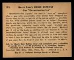 1941 Gum Inc. Uncle Sam Home Defense #115   Gas Decontamination Back Thumbnail