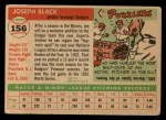 1955 Topps #156  Joe Black  Back Thumbnail