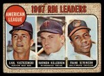 1968 Topps #4  1967 AL RBI Leaders  -  Harmon Killebrew / Frank Robinson / Carl Yastrzemski Front Thumbnail
