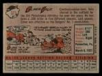 1958 Topps #323   Elmer Valo Back Thumbnail