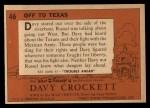 1956 Topps Davy Crockett #46 ORG Off To Texas   Back Thumbnail