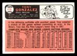 1966 Topps #478   Tony Gonzalez Back Thumbnail