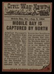 1962 Topps Civil War News #76  Blazing Cannon  Back Thumbnail
