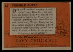 1956 Topps Davy Crockett #47 ORG Trouble Ahead   Back Thumbnail