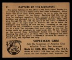 1940 Gum Inc. Superman #11   Capture of the Kidnapers Back Thumbnail