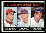 1967 Topps #237  AL Strikeout Leaders  -  Jim Kaat / Sam McDowell / Earl Wilson Front Thumbnail
