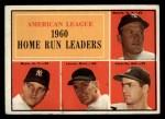 1961 Topps #44  1960 AL Home Run Leaders  -  Rocky Colavito / Jim Lemon / Mickey Mantle / Roger Maris Front Thumbnail