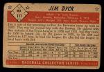 1953 Bowman #111   Jim Dyck Back Thumbnail