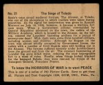 1938 Gum Inc. Horrors of War #21   The Siege of Toledo Back Thumbnail