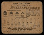 1941 Gum Inc. Uncle Sam Home Defense #12   How To Tell An Officer's Rank Back Thumbnail