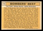 1963 Topps #173   -  Tom Tresh / Mickey Mantle / Bobby Richardson Bomber's Best Back Thumbnail
