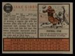1962 Topps #281   Jake Gibbs Back Thumbnail