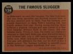 1962 Topps #138 A  -  Babe Ruth The Famous Slugger Back Thumbnail