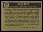 1961 Topps #337  Al's Aces  -  Al Lopez / Herb Score / Early Wynn Back Thumbnail