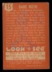 1952 Topps Look 'N See #15  Babe Ruth  Back Thumbnail
