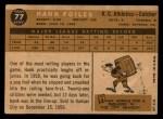 1960 Topps #77  Hank Foiles  Back Thumbnail