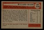 1954 Bowman #114  Willard Nixon  Back Thumbnail