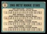 1965 Topps #533   Mets Rookie Stars  -  Tug McGraw / Ron Swoboda / Jim Bethke / Dan Napoleon Back Thumbnail