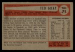1954 Bowman #71  Ted Gray  Back Thumbnail
