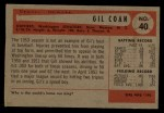 1954 Bowman #40  Gil Coan  Back Thumbnail