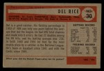 1954 Bowman #30   Del Rice Back Thumbnail