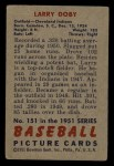 1951 Bowman #151  Larry Doby  Back Thumbnail