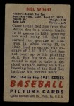 1951 Bowman #164  Bill Wight  Back Thumbnail