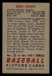 1951 Bowman #32   Duke Snider Back Thumbnail