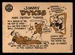 1960 Topps #214   Jimmy Dykes Back Thumbnail