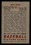 1951 Bowman #212  Bob Rush  Back Thumbnail