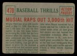 1959 Topps #470   -  Stan Musial Musial Raps Out 3000th Hit Back Thumbnail