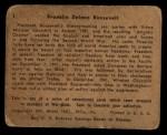 1941 Gum Inc. War Gum #1  Franklin Delano Roosevelt  Back Thumbnail