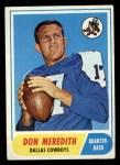 1968 Topps #25  Don Meredith  Front Thumbnail