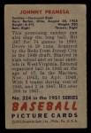 1951 Bowman #324   John Pramesa Back Thumbnail