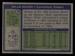 1972 Topps #28   Willie Brown Back Thumbnail