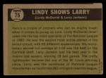 1961 Topps #75  Lindy Shows Larry   -   Larry Jackson / Lindy McDaniel Back Thumbnail