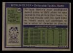 1972 Topps #181   Merlin Olsen Back Thumbnail